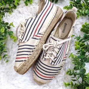Soludos Ivory Striped Espadrilles Sneakers 10